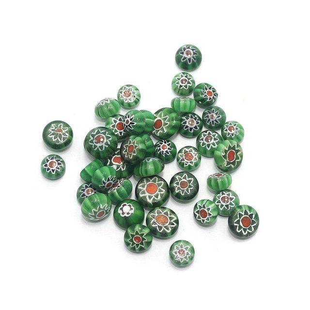 100 Chevron Cabochon Round Beads Green 8mm