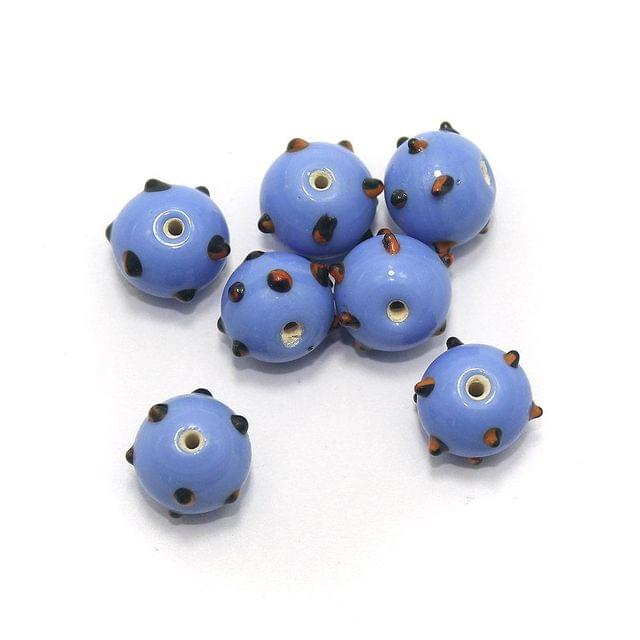 25+ Bump Dotted Round Beads Blue 14mm