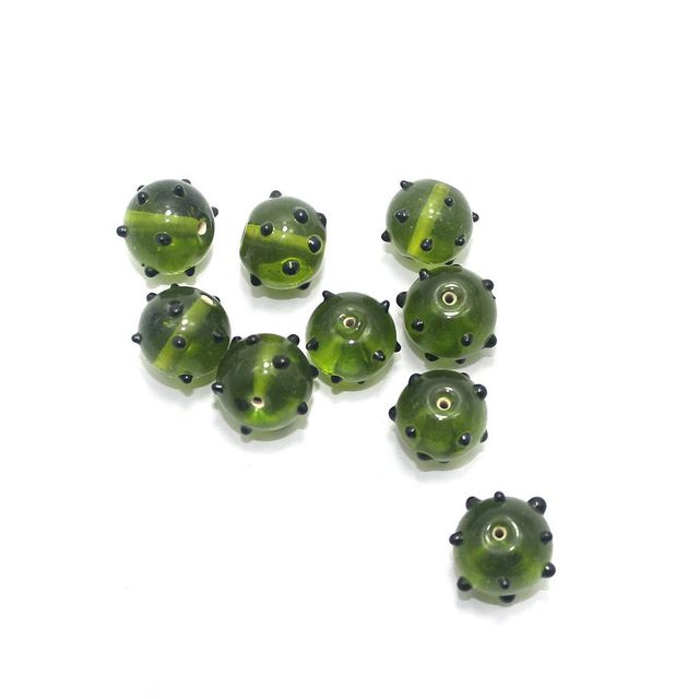 20+ Bump Dotted Round Beads Olive Green 16mm