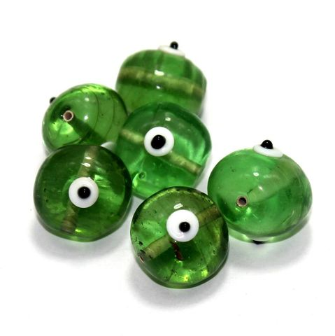 10 Bump Eye Beads Green 18x20mm