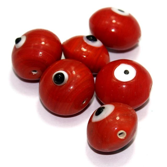10 Bump Eye Beads Red 18x20mm