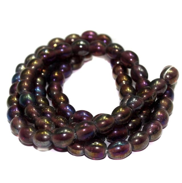 5 strings Glass Oval Beads Purple Rainbow 10x8mm