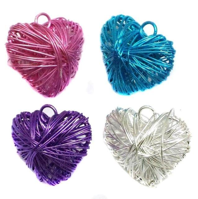 4 Wire Mesh Heart Beads Assorted 25x28mm