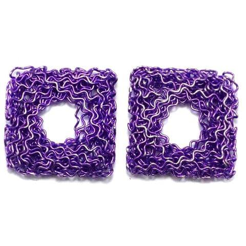 4 Wire Mesh Flat Cube Beads Violet 25mm