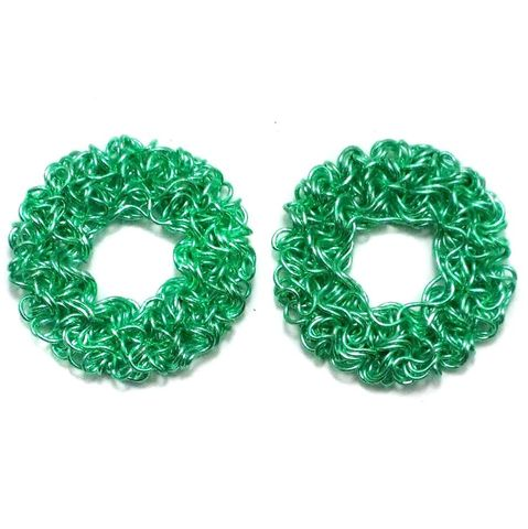 2 Wire Mesh Flat Round Beads Green 28mm