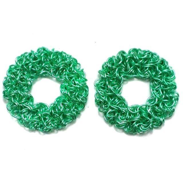 2 Wire Mesh Flat Round Beads Green 28mm