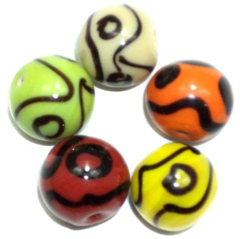 25+ Glass Round Beads Assorted ( VNR ) 12mm