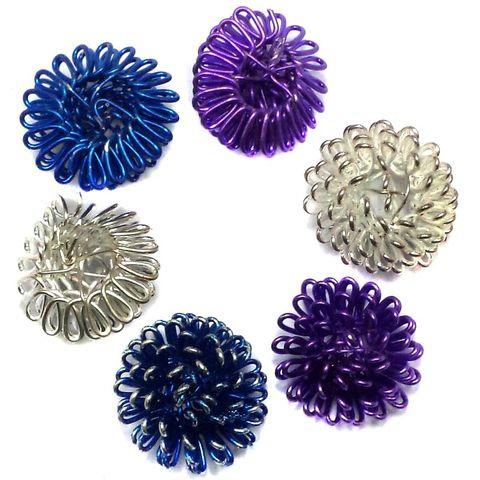 4 Wire Mesh Half Round Beads Assorted 20mm