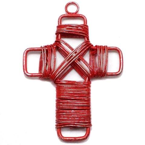 2 Wire Mesh Cross Beads Red 50x35mm