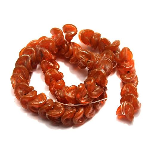 5 strings of Twisty Glass Beads Orange 12mm