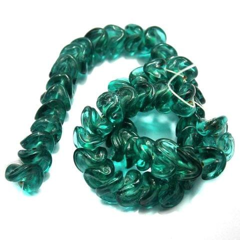 5 strings of Twisty Glass Beads Teal 12mm