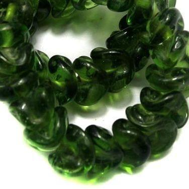5 strings of Twisty Glass Beads Light Green 12mm