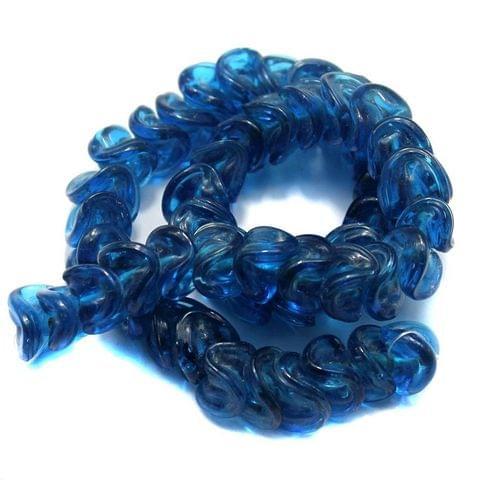 5 strings of Twisty Glass Beads Light Blue 12mm