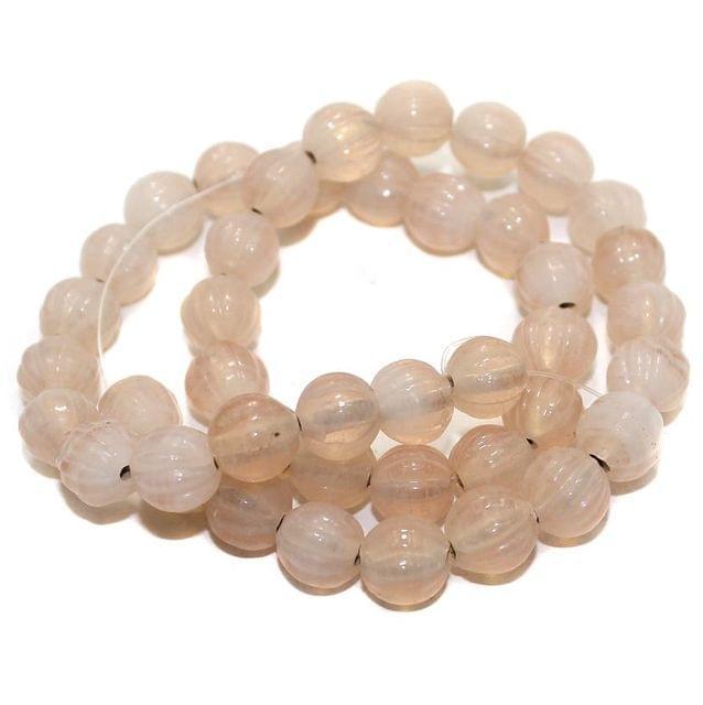 40+ Kharbooja Glass Beads Lavender 10mm