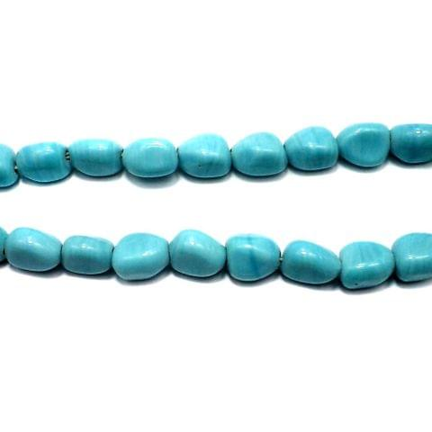 5 Strings Fire Polish Tumble Beads Turquoise 14x10mm