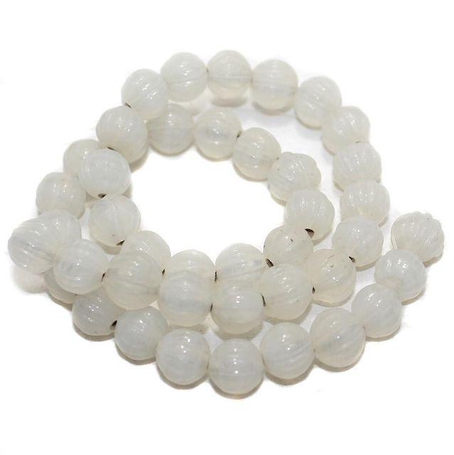 40+ Kharbooja Glass Beads White 10mm