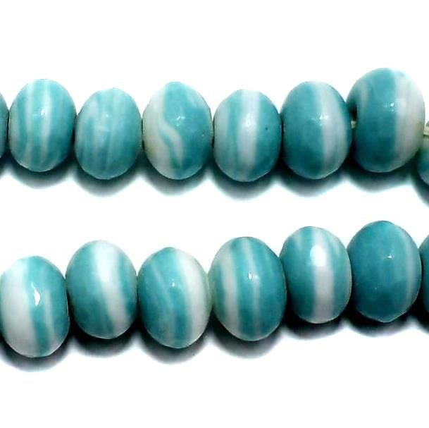 30 Faceted Glass RONDELLE Beads Turquoise 10x14mm