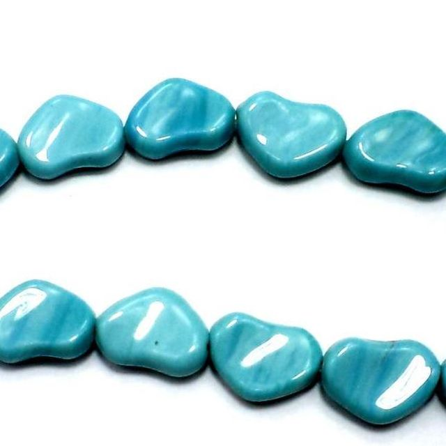 2 Strings Fire Polish Heart Beads Turquoise 12x18mm