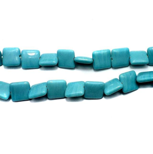 5 Strings Fire Polish Square Bead Turquoise 15mm