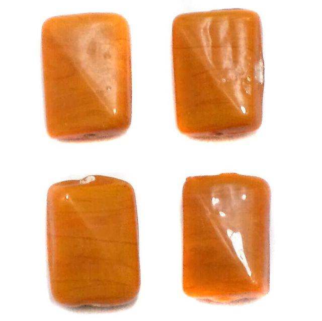 35+ Glass Tumble Beads Rectangle Orange 16x12mm