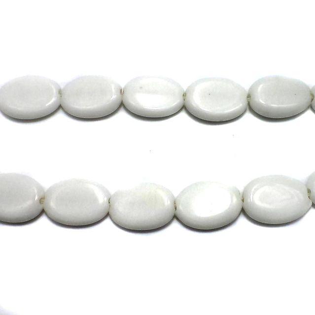 18 Fire Polish Oval Beads White 22x17mm