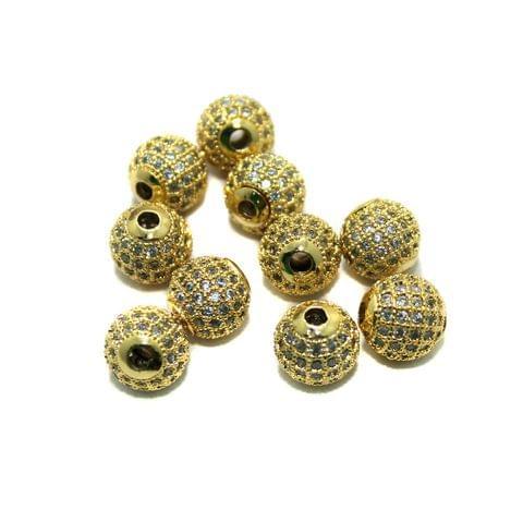 CZ Beads Round 10 Pcs Golden 6mm