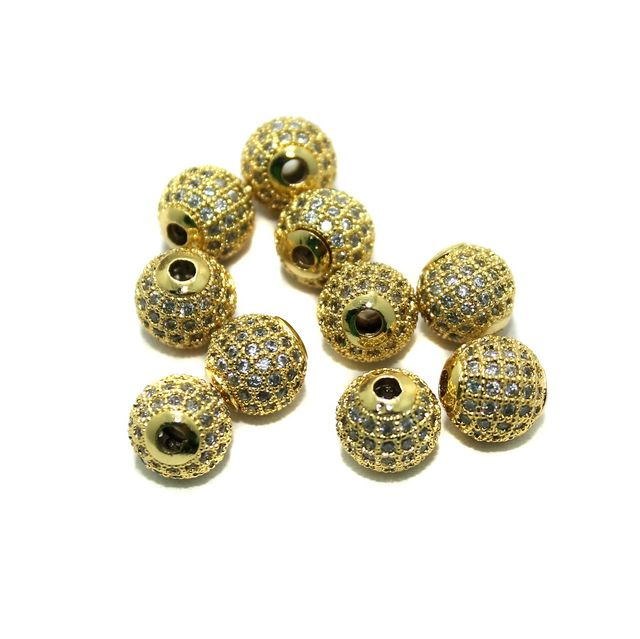 CZ Beads Round 10 Pcs Golden 6mm