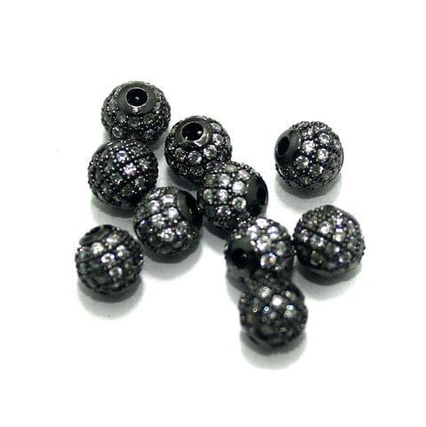 CZ Beads Round 10 Pcs Black 6mm