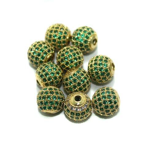 10mm CZ Green Round Beads ,10 Pcs