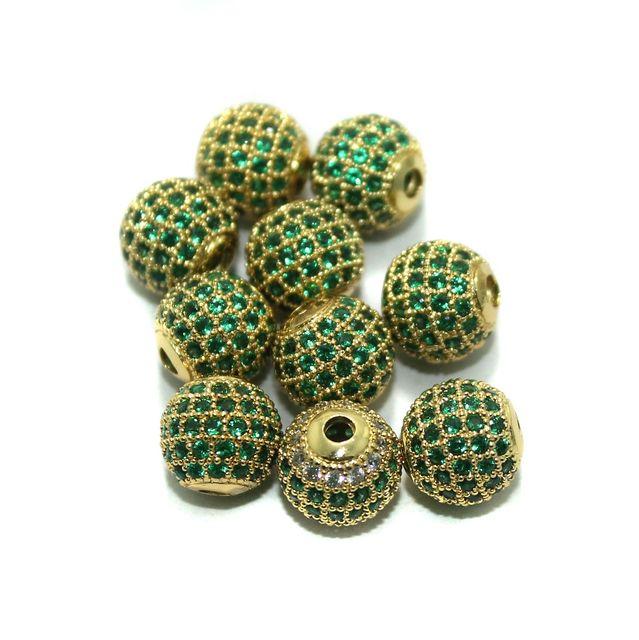 CZ Beads Round 10 Pcs Green 10x10mm