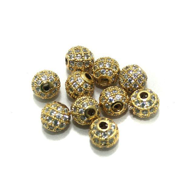 CZ Beads Round 10 Pcs Golden 10x10mm