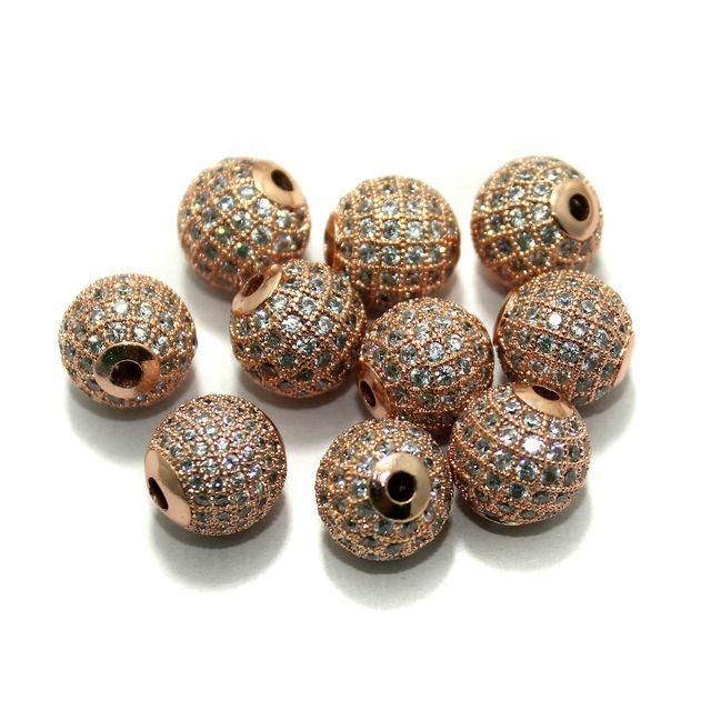 CZ Beads Round 10 Pcs Copper 12 mm