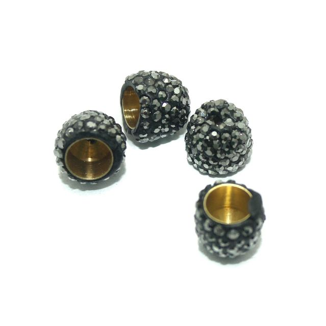 CZ Bead Caps Round 4 Pcs Black 12x10mm
