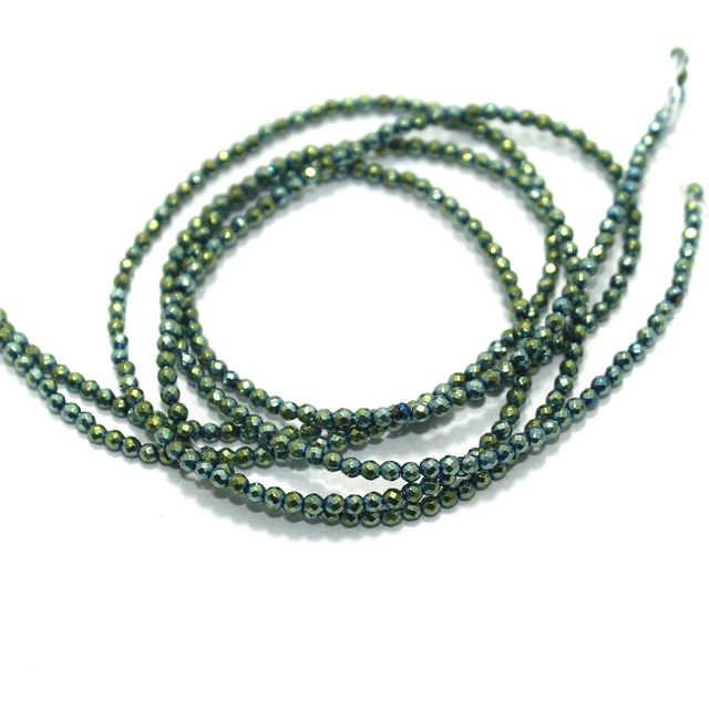 Faceted Beads Round 2mm 2 Strings Green