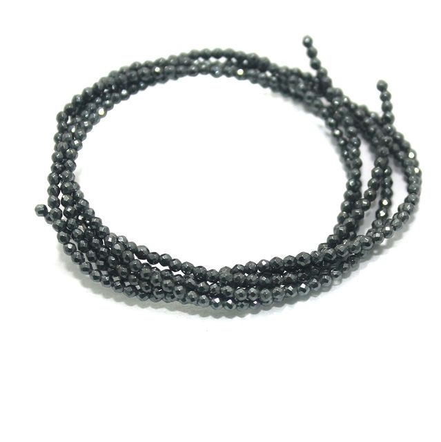 Faceted Beads Round 2mm 2 Strings Black