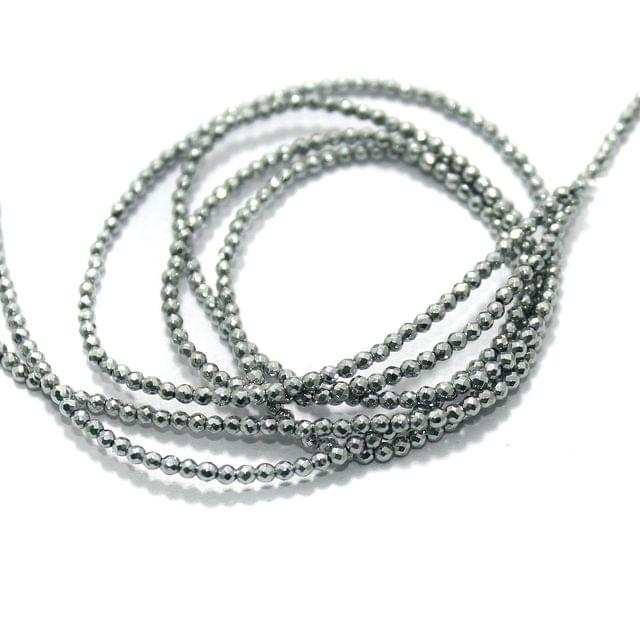 Faceted Beads Round 2mm 2 Strings Silver