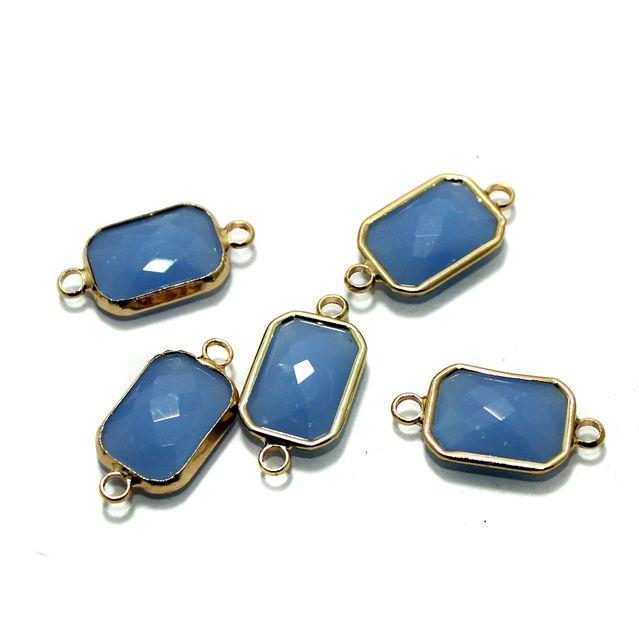 Golden Gemstone Connectors 5 Pcs Sky Blue 11x22mm
