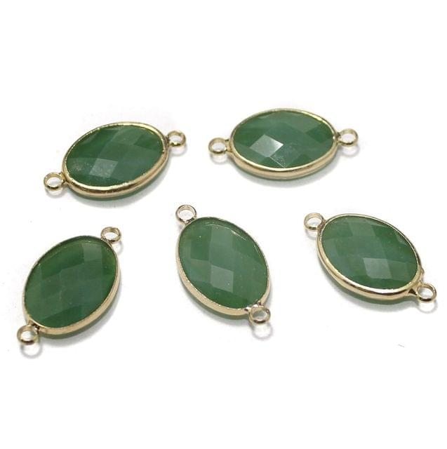 Golden Gemstone Connectors 5 Pcs Olive 11x22mm