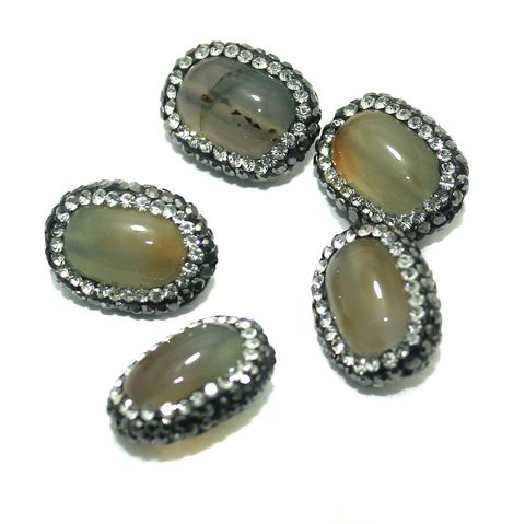 Gemstone CZ Beads 5 Pcs 15x19mm White