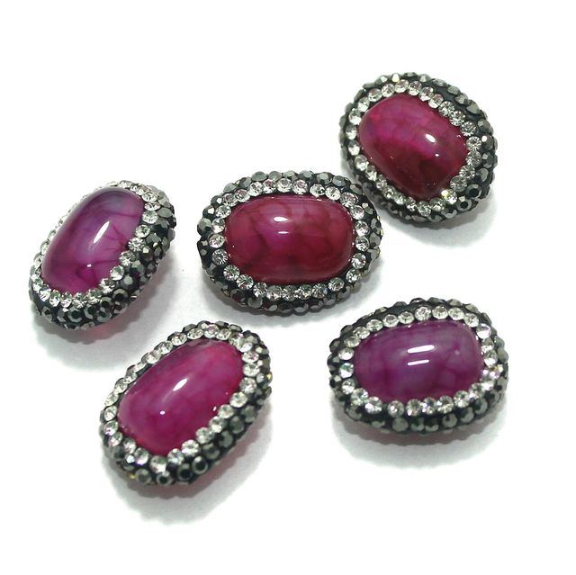 Gemstone CZ Beads 5 Pcs 13x19mm Magenta