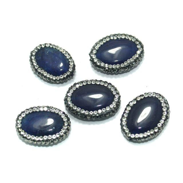 Gemstone CZ Beads 5 Pcs 17x22mm Blue