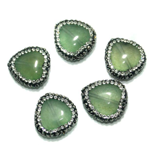 Gemstone CZ Beads 5 Pcs 18x18mm Olive