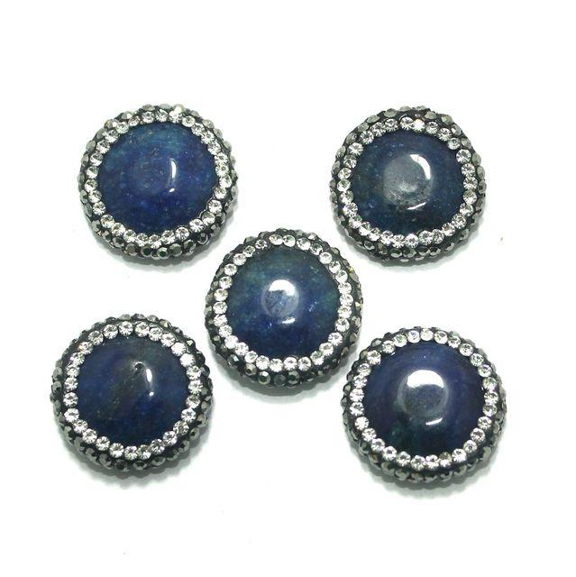 Gemstone CZ Beads 5 Pcs 19x19mm Blue