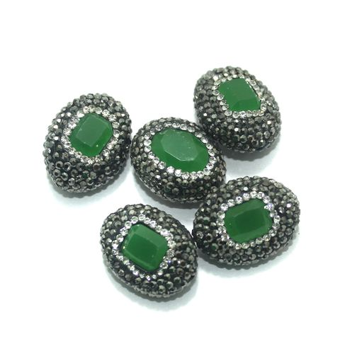 Gemstone CZ Beads 5 Pcs 18x23mm Green