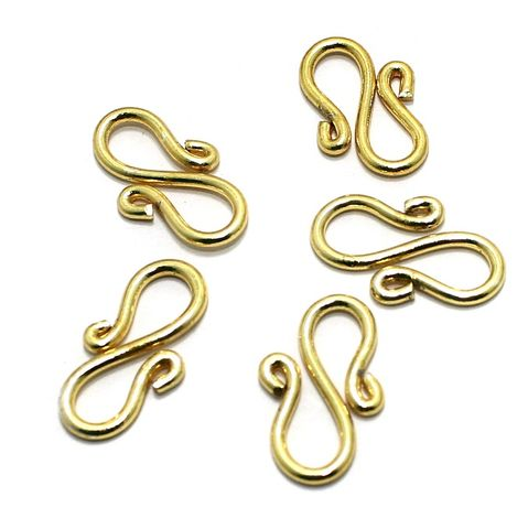 German Silver Golden S Hooks 50 Pcs 22x14mm