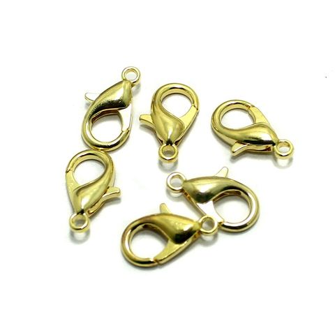 German Silver Golden Lobster Clasps 50 Pcs 16x8mm