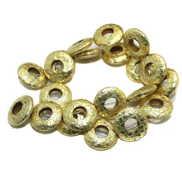 German Silver Disc Beads Golden 21 Pcs 20x6mm