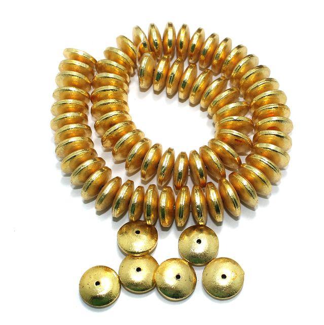 German Silver Disc Beads Golden 71 Pcs 20x6mm