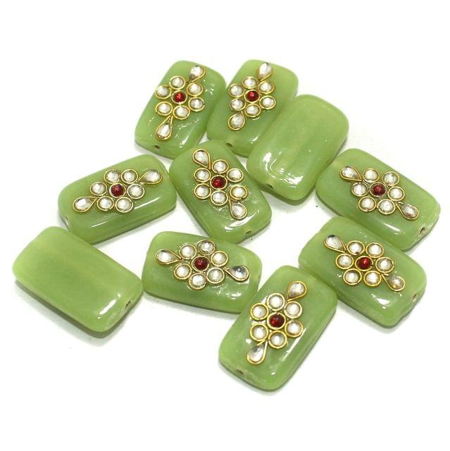 Kundan Beads Rectangle Parrot Green 10 Pcs 24x14mm