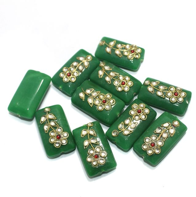 Kundan Beads Rectangle Green 10 Pcs 24x14mm
